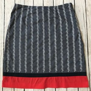 Talbots Navy Blue, Red and white floral dots skirt